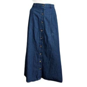 Vintage denim button down maxi skirt